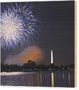 Blue And White O'er Washington D.c. Wood Print