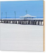 Blue And White Pier Wood Print