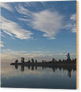 Brushstrokes On The Sky - Blue And White Serenity Wood Print