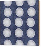Blue And White Shibori Balls Wood Print