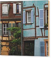 Blue And Yellow Buildings In La Petite Venise In Colmar France Wood Print