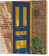 Blue And Yellow Door Wood Print