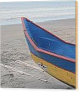 Blue And Yellow Fishing Boat On The Beach Wood Print