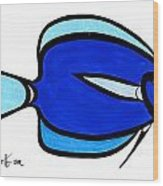 Blue Angele Wood Print