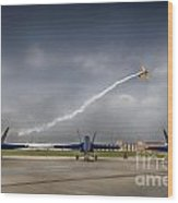 Blue Angels Fa 18 With Grumman Biplane Wood Print