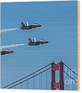 Blue Angels Over The Golden Gate Wood Print