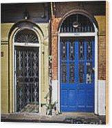 Blue Arch Door Wood Print