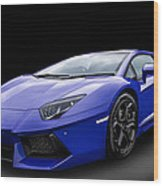 Blue Aventador Wood Print