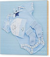 Blue Baby Clothes For Infant Boy Wood Print