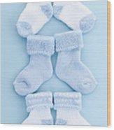 Blue Baby Socks Wood Print by Elena Elisseeva