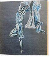 Blue Ballerina Dance Art Wood Print