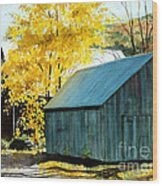 Blue Barn Wood Print