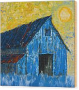 Blue Barn Number One Wood Print
