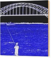Blue Bay Bridge Wood Print