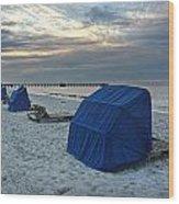 Blue Beach Chairs Wood Print