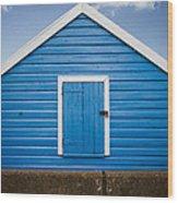 Blue Beach Hut Wood Print