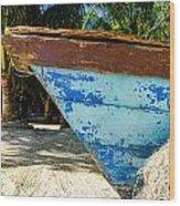 Blue Beached Canoe Wood Print