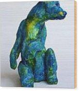 Blue Bear Wood Print by Derrick Higgins