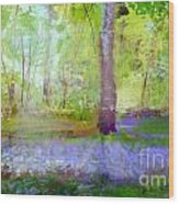 Blue Bells In The Wood Painting Number 1 Wood Print