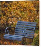 Blue Bench - Autumn - Deer Isle - Maine Wood Print