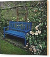Blue Bench With Roses Wood Print