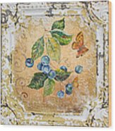 Blue Berries And Butterfly On Vintage Tin Wood Print