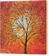Blue Berry Tree Wood Print