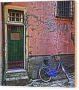 Blue Bicycle Monterosso Italy Dsc02592  Wood Print