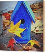 Blue Bird House Wood Print