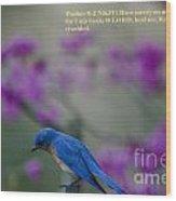 Blue Bird Praying Wood Print