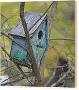 Blue Birdhouse Wood Print