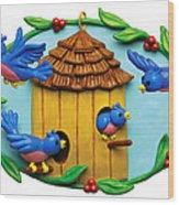 Blue Birds Fly Home Wood Print