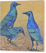 Blue Birds Of Happiness Wood Print