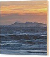 Blue Black Tide At Sunset Wood Print
