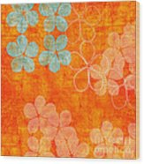 Blue Blossom On Orange Wood Print