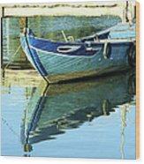 Blue Boat 01 Wood Print