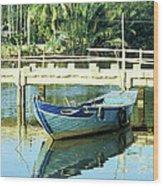Blue Boat 02 Wood Print