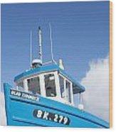 Blue Boat Blue Sky Wood Print