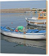 Blue Boat In Sozopol Harbour Wood Print
