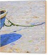 Blue Boat On Mudflat Wood Print