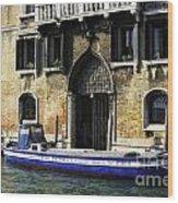 Blue Boat Venice Wood Print