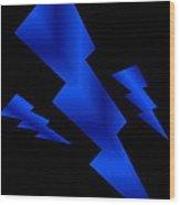 Blue Bolts Wood Print