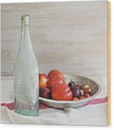Blue Bottle And Fresh Fruit Wood Print