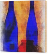 Blue Bottles Photo Art Wood Print