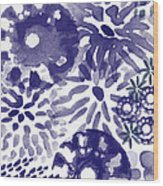Blue Bouquet- Contemporary Abstract Floral Art Wood Print