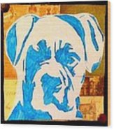 Blue Boxer Wood Print by Ashley Reign