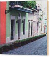 Blue Brick Street Old San Juan Wood Print