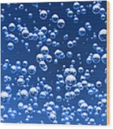 Blue Bubbles Wood Print
