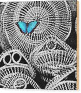 Blue Butterfly Charleston Wood Print