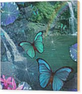 Blue Butterfly Dream Wood Print